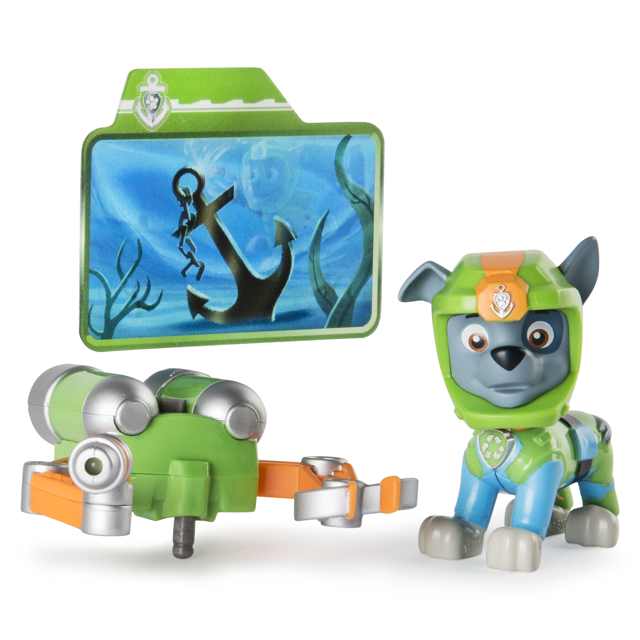 Paw Patrol Sea Patrol - Light Up Rocky with Pup Pack and Mission Card