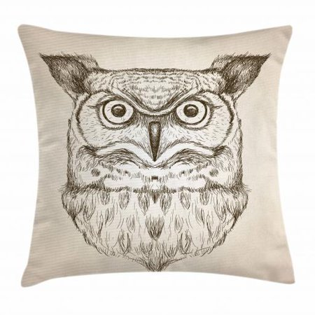 Owl Throw Pillow Cushion Cover, Hand-Drawn Artistic Sketch of an Owl Head Front View Wildlife Animal Theme, Decorative Square Accent Pillow Case, 20 X 20 Inches, Dark Brown and Eggshell, by Ambesonne ()