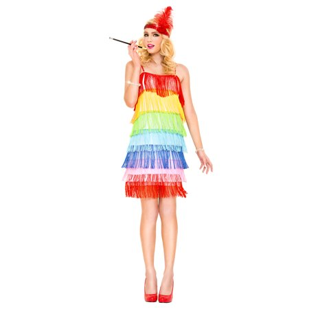 Rainbow Fringe Flapper 70675-XS](Fringe Dress Flapper)