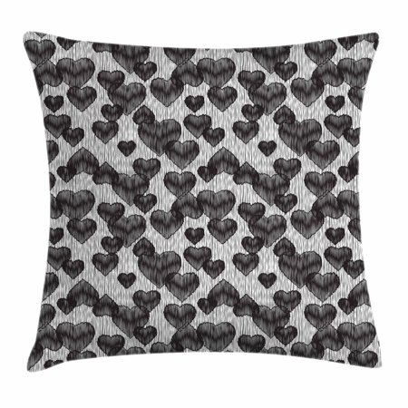 Romantic Throw Pillow Cushion Cover, Gothic Hearts Tattoo Style Valentine's Love Graffiti Grunge Illustration, Decorative Square Accent Pillow Case, 18 X 18 Inches, Pale Grey Black, by Ambesonne