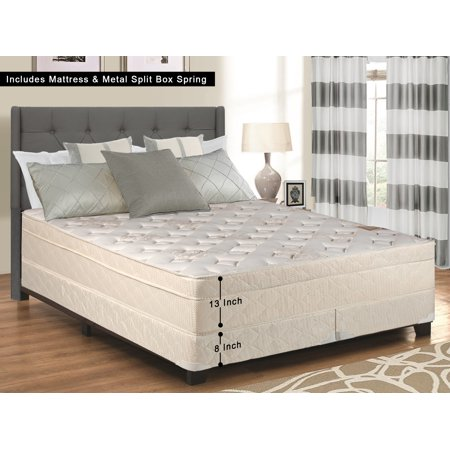 WAYTON, 13-Inch Firm Foam Encased Eurotop Pillowtop Innerspring Mattress And Split Metal Box Spring/Foundation Set, No Assembly Required, Good For The Back, King Size 79