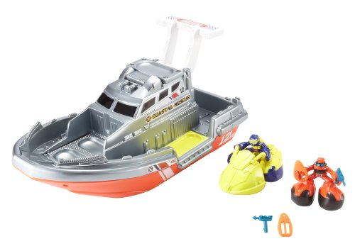 Matchbox Big Boots Sea Rescue Boat Vehicle Playset by Mattel