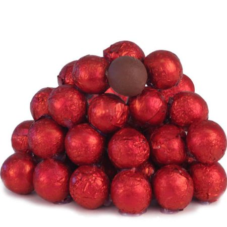 BAYSIDE CANDY MILK CHOCOLATE BALLS RED FOILED, 1LB
