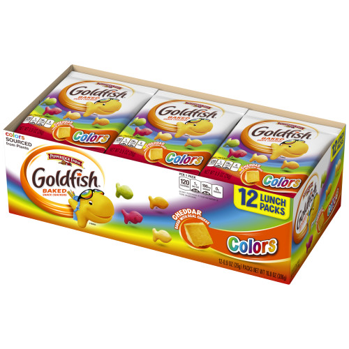 Pepperidge Farm Goldfish Colors Cheddar Crackers, 10.8 oz. Multi-pack Tray, 12-count 0.9 oz. Single-Serve Snack Packs