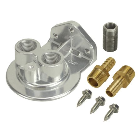 DERALE 1/2 in NPT Female Ports Ports Up Oil Filter Mount Kit P/N 15708