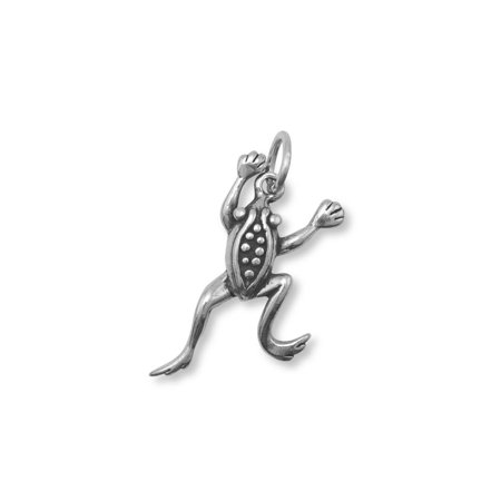 Jumping Frog Charm Sterling Silver Antiqued Finish