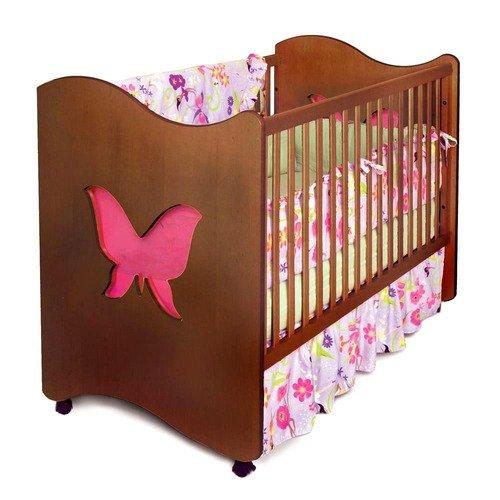 Room Magic Magic Garden Butterfly 2-in-1 Convertible Crib, Chocolate
