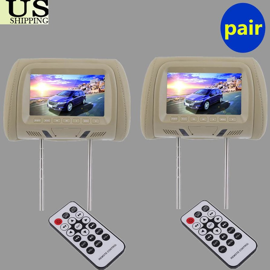2PCS 7 Inch Car Pillow Monitor Car Headrest TV Monitors With Remote Control
