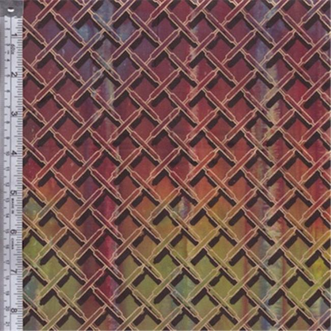 Textile Creations OY-158 Odyssey Fabric, Plaid Black Gold On Red, Multi, 15 yd.
