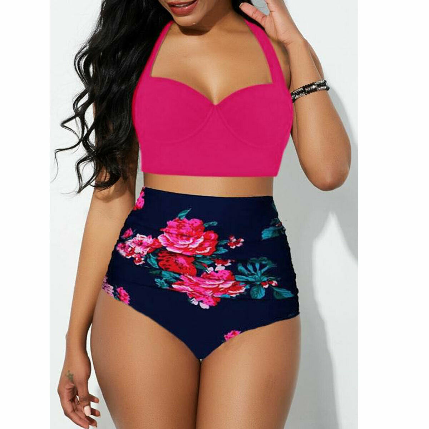 Women Bikini Set Push Up Padded Bra Swimsuit Bathing Suit High Waisted Swimwear