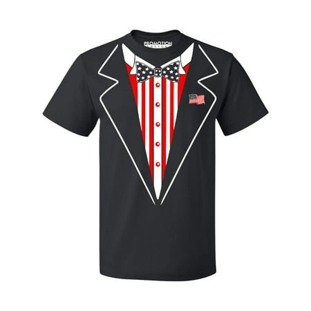 American Flag Bowtie Tuxedo 4th of July Men's T-shirt, S, Black