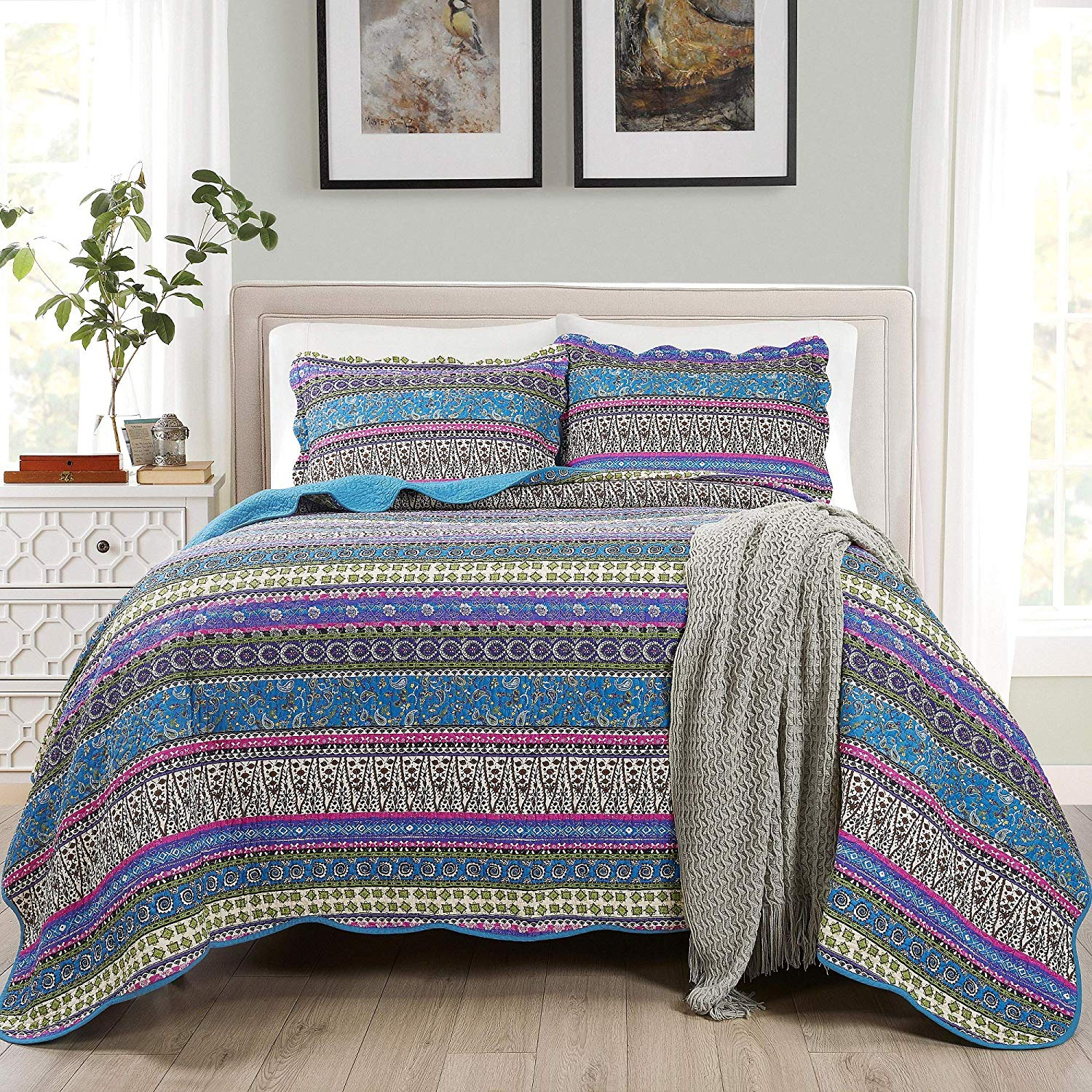 Chezmoi Collection Odette 3-Piece Boho Chic 100% Soft Cotton Bohemian Bedspread Quilt Set