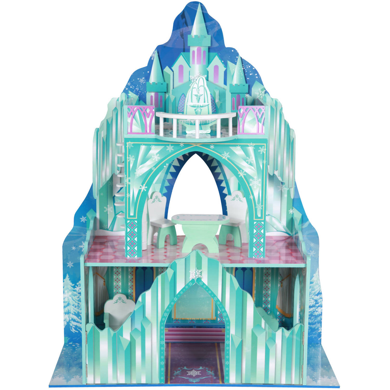 "Teamson Kids Ice Castle Wooden Doll House with 6 Pieces of Furniture for 12"" Dolls"