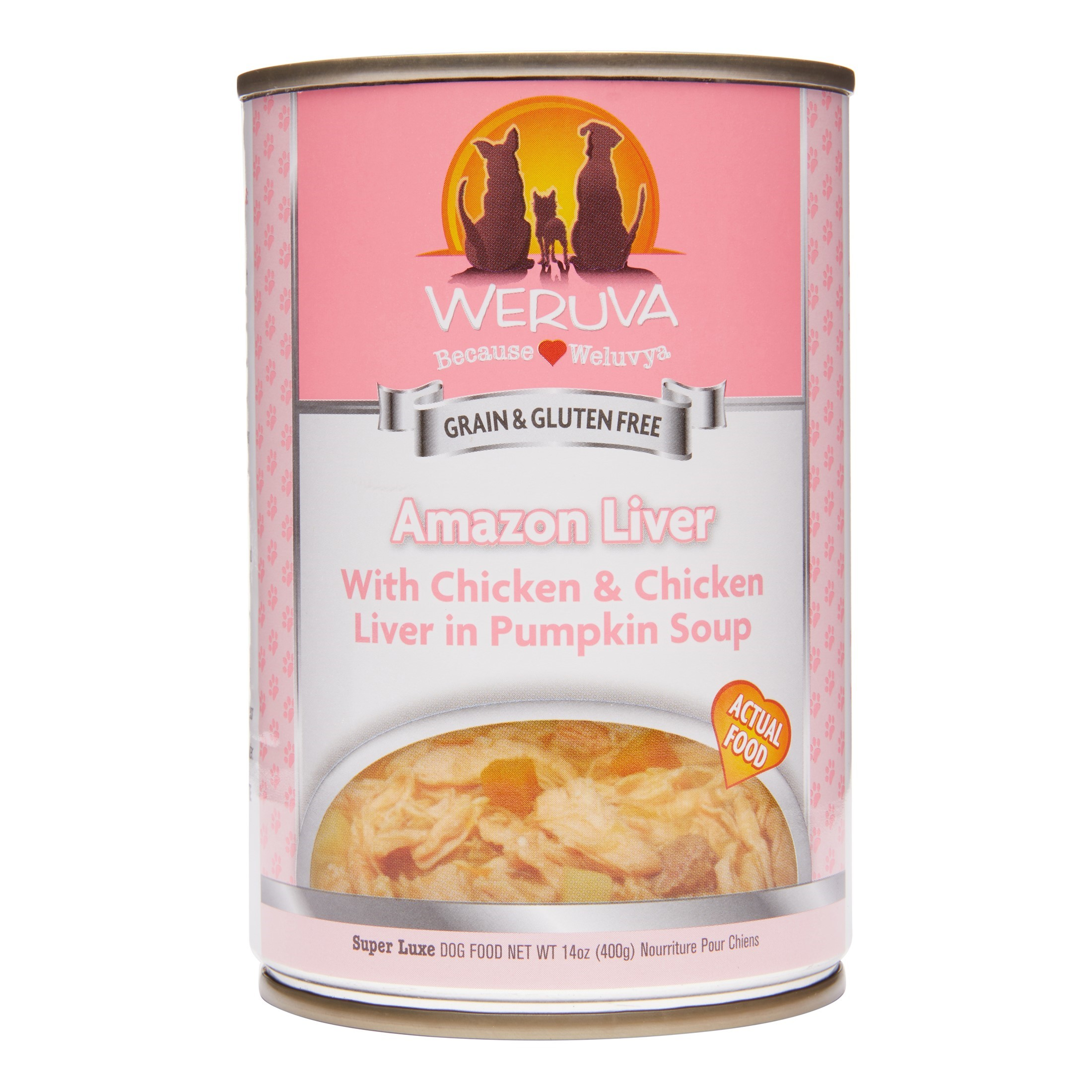 Weruva Human Style Grain-Free Amazon Liver with Chicken & Chicken Liver in Pumpkin Soup Wet Dog Food, 14 Oz. Cans (24 Pack)