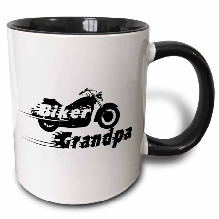 Coil Mug - 3dRose Biker Grandpa. motorbike motorcycle granddad. Fast bike. cool black and white flaming text. Grandad - Two Tone Black Mug, 11-ounce