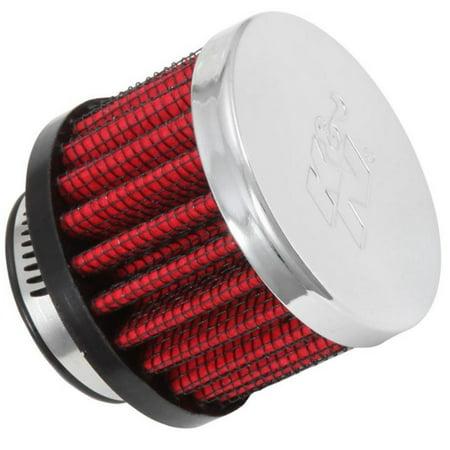 K&N Engineering 62-1370 Rubber Base Crankcase Vent Filter - 1in. Flange - Chrome End (Rubber Base Crankcase Vent Filter)