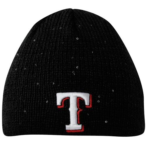Texas Rangers New Era Womens Glistener Knit Hat - Black - OSFA
