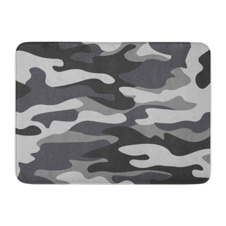KDAGR Camouflage Pattern Classic Masking Camo Black Grey White Colors Winter Ice Doormat Floor Rug Bath Mat 30x18 inch 95 Ice Grey Vessels