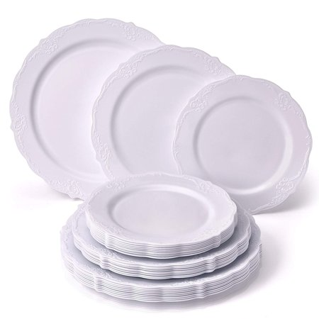 - PARTY DISPOSABLE 30 PC DINNERWARE SET 10 Dinner Plates 10 Salad Plates 10 Dessert Plates Heavy Duty Disposable Plastic Dishes Fine China Look Upscale Wedding Dining (Vintage Collection–White)