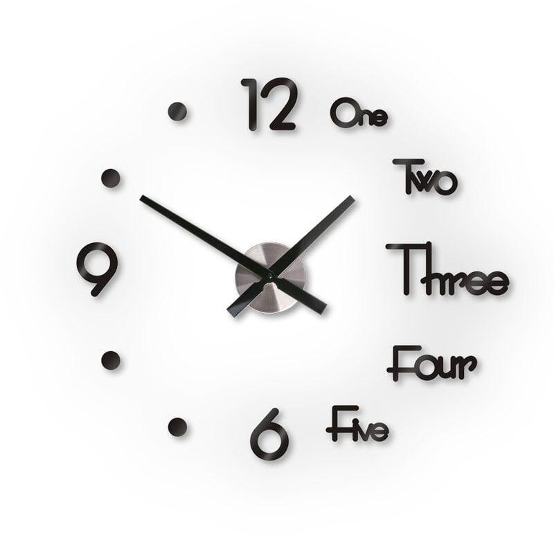 DIY Digital Wall Clock 3D Sticker Modern Design Large Clock Home Office Decor