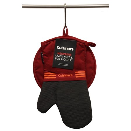 Cuisinart Oven Mitt & Potholder Set w/Neoprene for Easy Gripping, Heat Resistant up to 500 degrees F, Red Dahlia