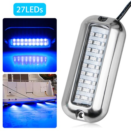 Stainless Steel 27 LED Blue Underwater Pontoon Transom Lights for Boats Marine