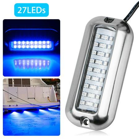 27 LED Underwater Pontoon Transom Lights, EEEkit Marine Boat LED Navigation Lights, Stainless Steel Underwater Lights for Boat, IP68 Waterproof & Blue Light (Led Boat Lights Waterproof)