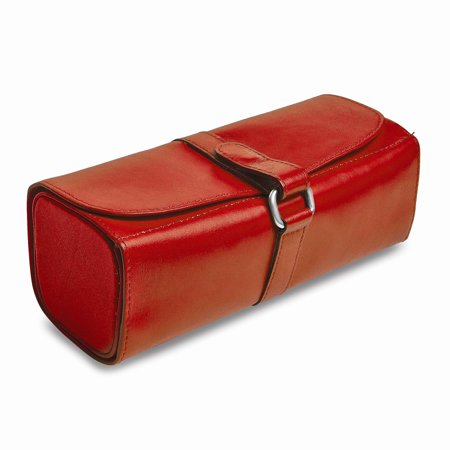 Red Leather Snap Strap Large Jewelry Roll ()