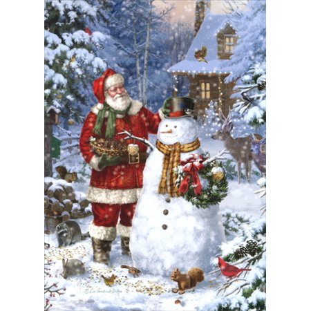 LPG Greetings Santa Making a Snowman : Liz Goodrick-Dillon Box of 18 Christmas Cards