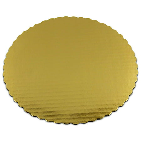 [20 Pack] 8 Inches Round Cake Boards - Cardboard Disposable Cake Pizza Circle Scalloped Gold Tart Decorating Base