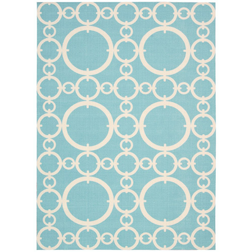 """Waverly Sun & Shade """"Connected"""" Aquamarine Indoor/Outdoor Area Rug by Nourison"""
