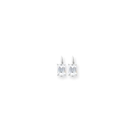 7x5mm Emerald Cut Mount (14k White Gold 7x5mm Emerald Cut Cubic Zirconia Earrings)
