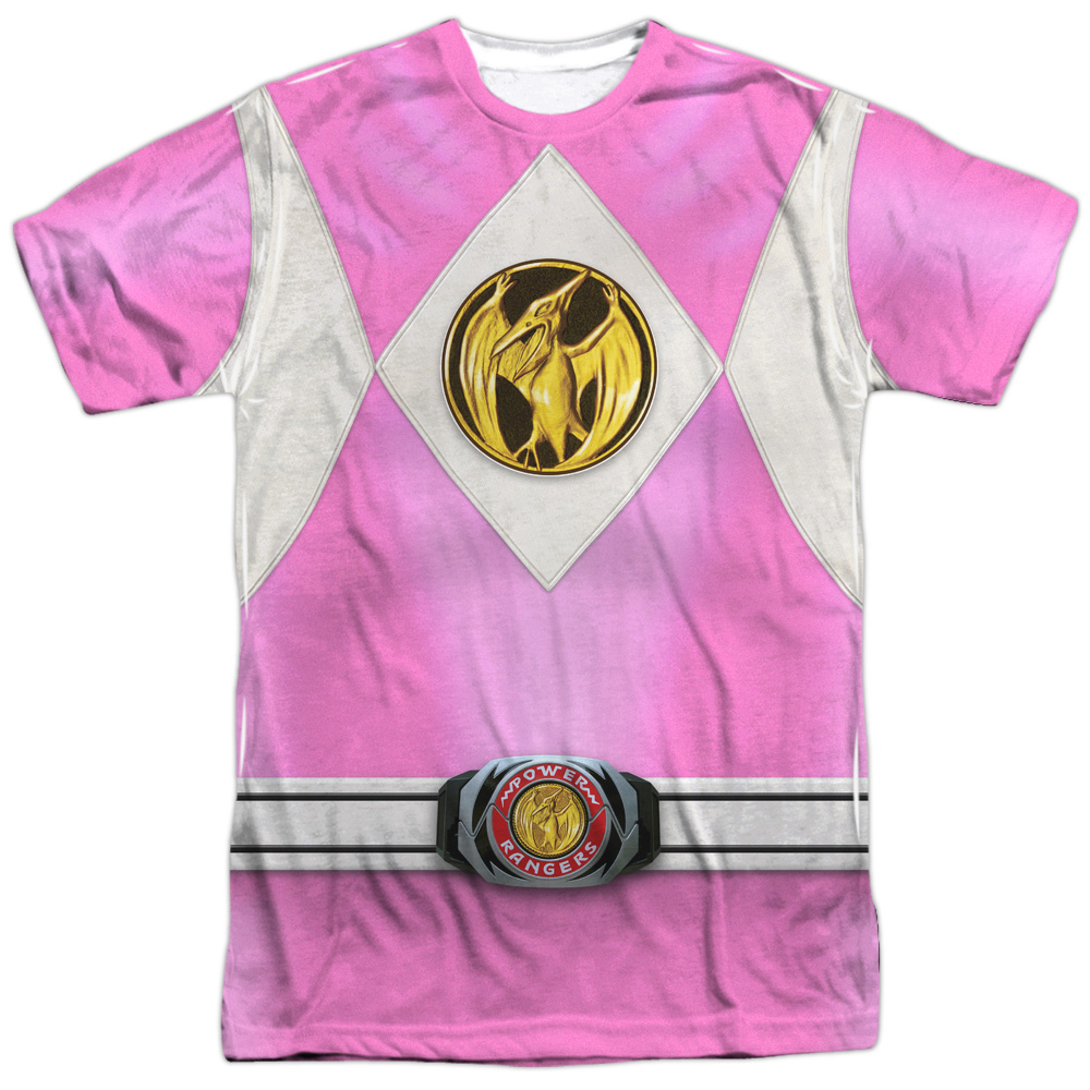 Mighty Morphin Power Rangers Pink Ranger Emblem (Front Back Print) Mens Shirt
