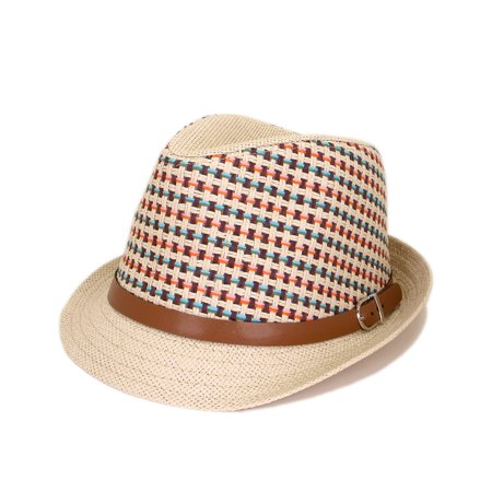 Multicolor Cowboy Cowgirl Fedora Straw Hat w/ Leather Band - Leather Cowboy Hats