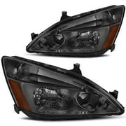 Headlight Assembly for 2003 2004 2005 2006 2007 Honda Accord Replacement Headlamp,Smoked Housing Clear Lens,One-Year Limited Warranty(Passenger And Driver Side)