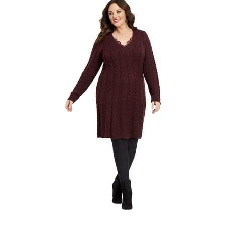 cb18e7fd9e maurices - Plus Size Long Sleeve Cable Sweater Dress - Walmart.com