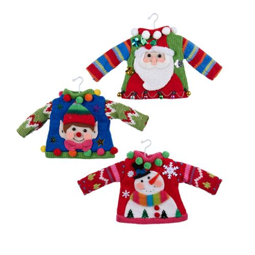 Club Pack of 12 Decorative Ugly Sweater Christmas Ornaments 4""