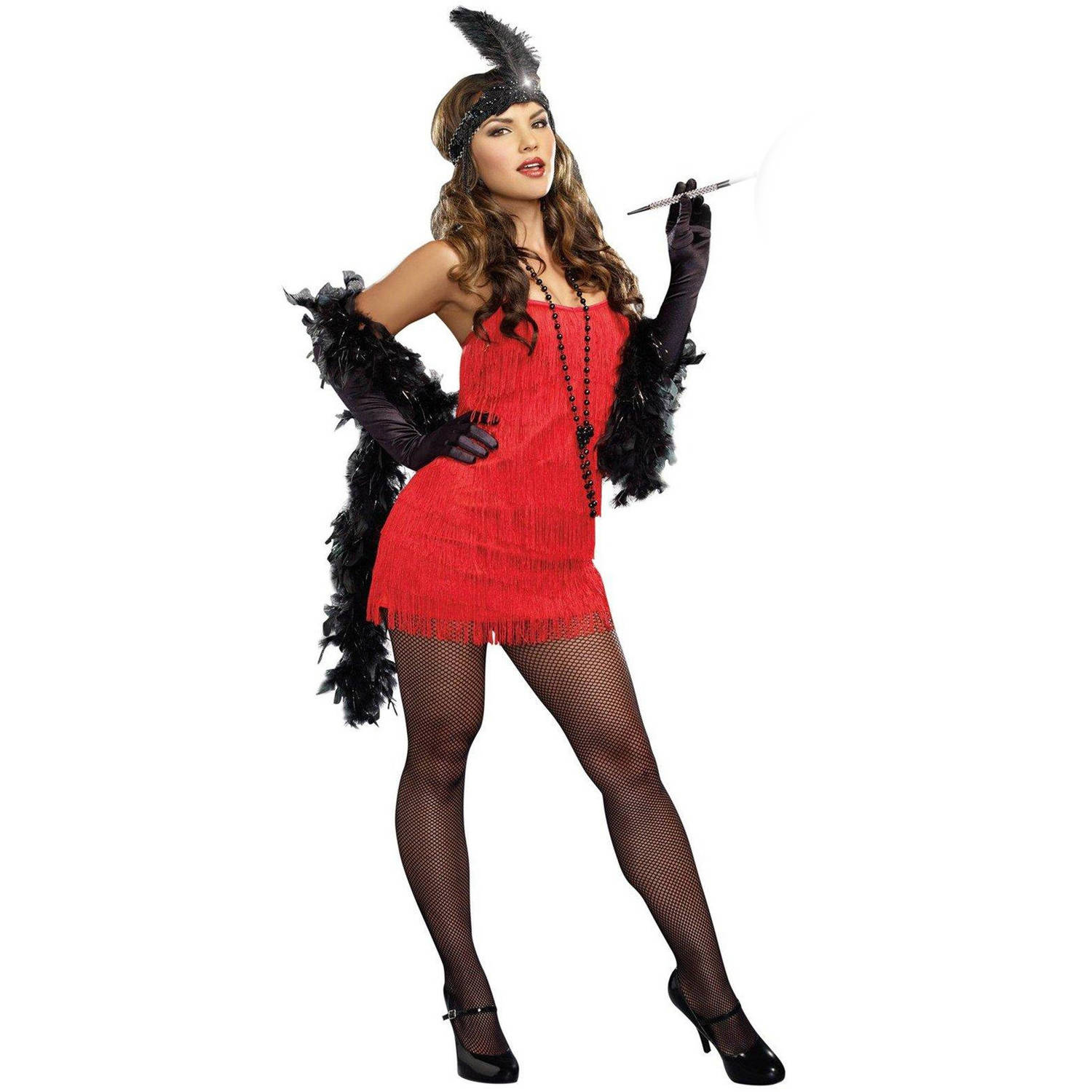 20s Red Flapper Dress Women's Plus Size Adult Halloween Costume, XL