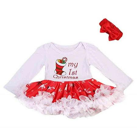 66d29b337298 Gaono - Newborn Christmas Dress Baby Clothes Girl Skirt Outfit Tutu Dress+  Headband - Walmart.com