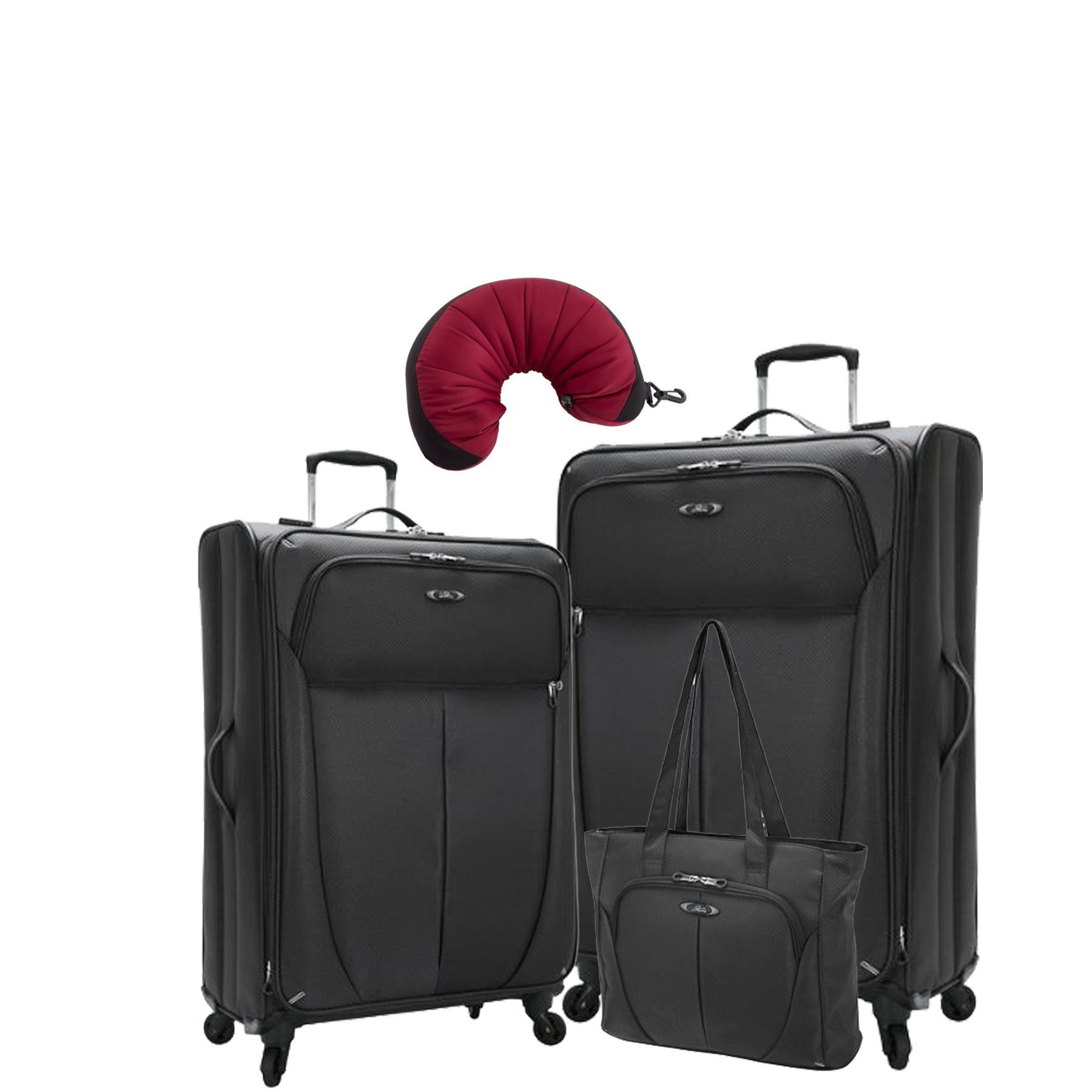 "Skyway Mirage Superlight | 4-Piece Set | 18"" Shopper Tote, 20"" and 24"" Expandable Spinners, Travel Pillow"