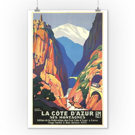 La Cote d'Azur - Ses Montagnes Vintage Poster (artist: Broders, Roger) France c. 1930 (9x12 Art Print, Wall Decor Travel (Map Of The Cote D Azur France)