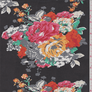 Black/Orange/Coral Floral Bouquet Print Chiffon, Fabric By the Yard