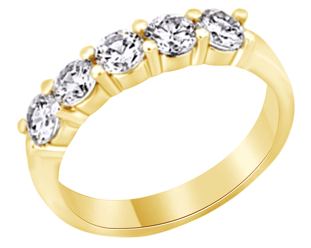 14K Classic Design Five Stone CZ Wedding Band Ring Size 7 Yellow Gold