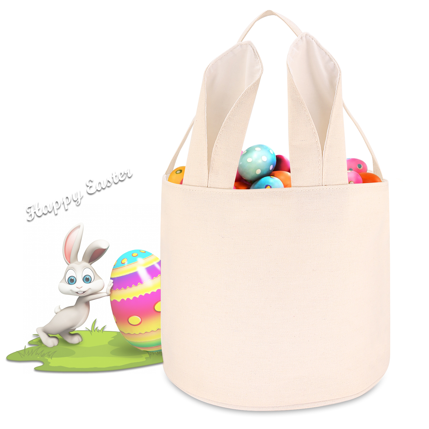 27c990c27378 Cylinder Bunny Ear Easter Basket, Dual Layer Canvas Bag With Bunny Design  for Easter Egg Hunt Basket Carrying Eggs Gifts for Kids Holding Toys Books  ...