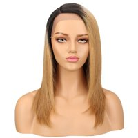 Noble Straight Lace Front Human Hair Wigs For Women Brazilian Ombre Human Hair Wig Blond Straight Lace Front Wig Free Shipping