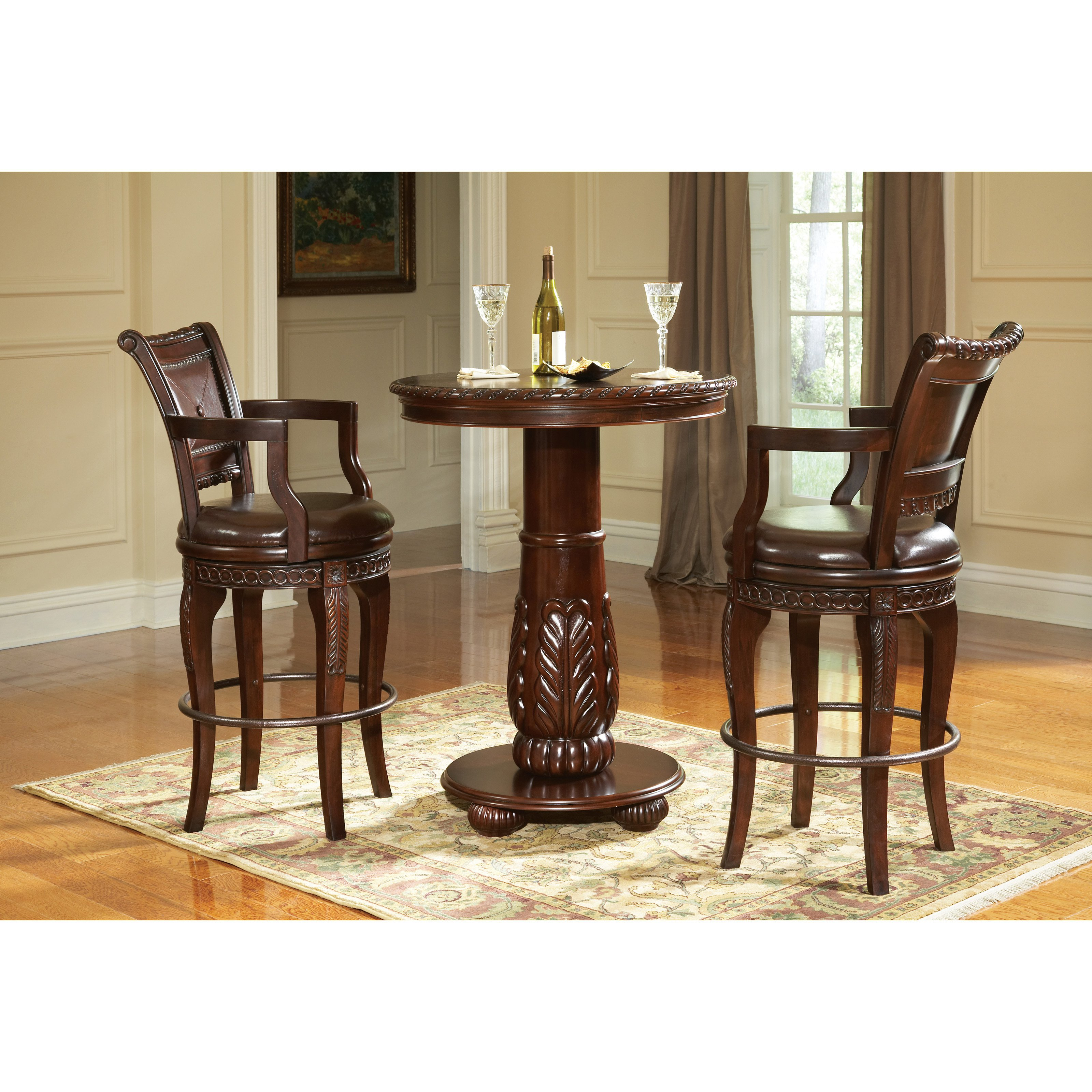Steve Silver Antoinette 30 in. Swivel Bar Stool With Arms - Cherry - Set of 2