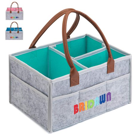 Bridawn Baby Diaper Caddy Organizer Nursery Storage Bin Portable Diaper Tote Bag Car Organizer for Infant Diapers Baby Wipes (Small & Large)