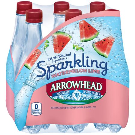 Arrowhead Sparkling Watermelon Lime Mountain Spring Water, 33.8 fl oz ...