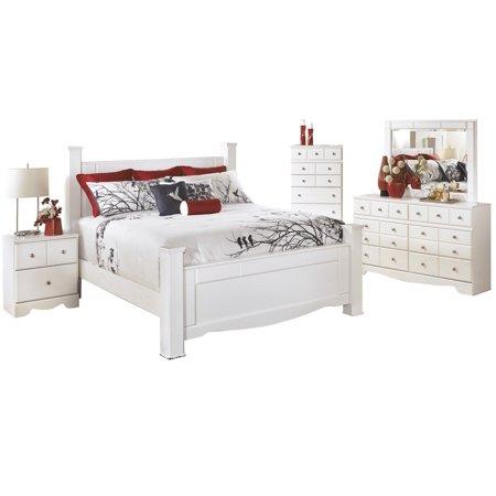 Ashley Furniture Weeki 5 PC E King Poster Bedroom Set w/ Chest White -  Walmart.com