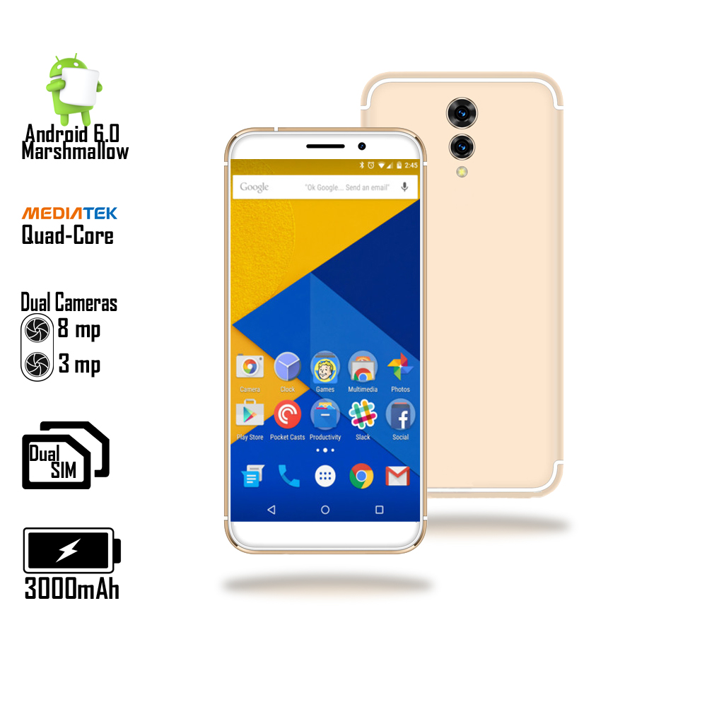 GSM UNLOCKED ANDROID Marshmallow SmartPhone ( 4G LTE + 5.6-inch Screen + QuadCore 1.3GHz + Fingerprint Access ) Gold